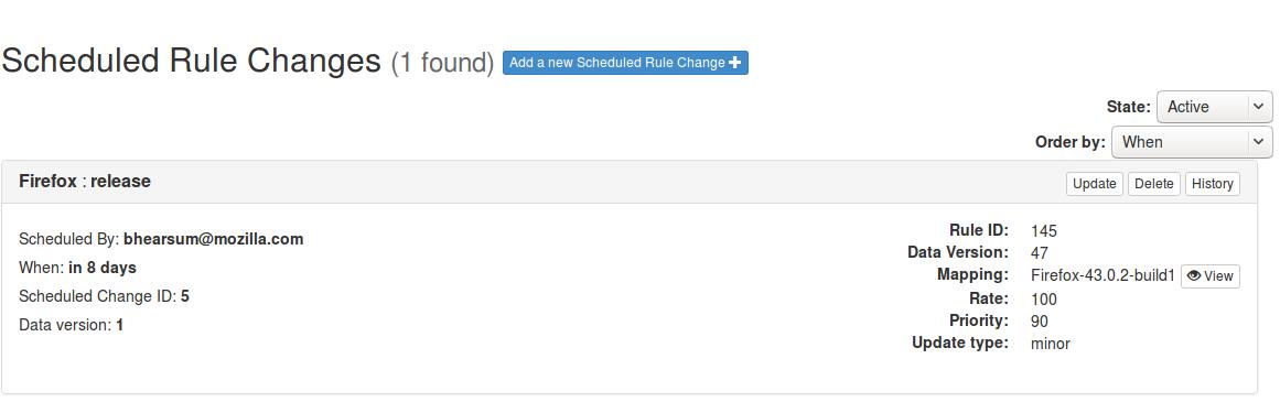 Scheduled Changes UI
